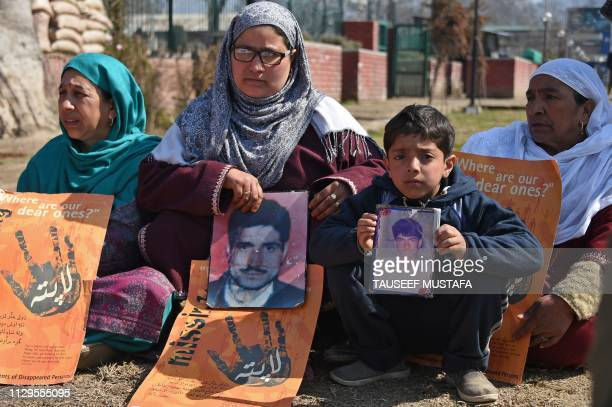 Kashmiri members of the Association of Parents of the Disappeared take part in a protest demanding information on their missing loved ones in...