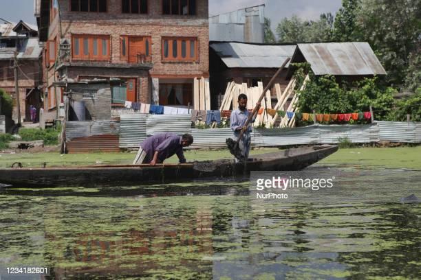 Kashmiri men clean sludge from the polluted Dal Lake in Srinagar, Kashmir, India, on June 26, 2010.