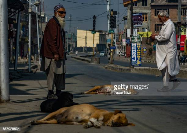 Kashmiri men stand on a road as stray dogs rest during a strike on October 27 2017 in Srinagar the summer capital of Indian administered Kashmir...