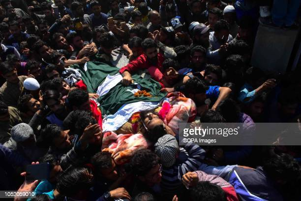 Kashmiri mourners seen carrying the body of militant Shabir Ahmed during his funeral procession in Samboora 22kms from Srinagar Indian administered...