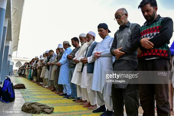 Kashmiri Muslim devotees seen having noon prayers during the occasion ShabeMeraj the night when the Holy Prophet Muhammad ascended to the highest...
