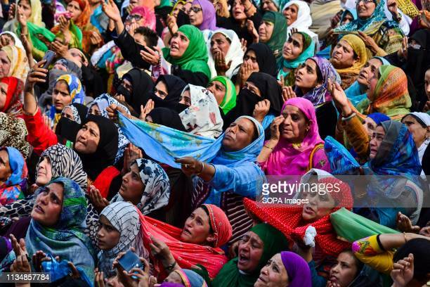 Kashmiri Muslim devotees seen praying during the occasion ShabeMeraj the night when the Holy Prophet Muhammad ascended to the highest levels of...