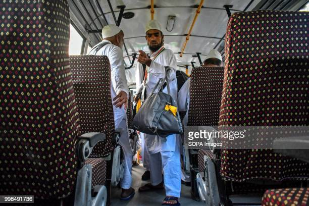 Kashmiri Muslim pilgrim boards the bus as he leaves for the annual hajj pilgrimage to the holy city of Mecca in Srinagar Indian administered Kashmir...