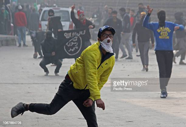Kashmiri Muslim protester throw stones at Indian police in old city Srinagar the summer capital of Indian controlled Kashmir Minor clashes erupt in...