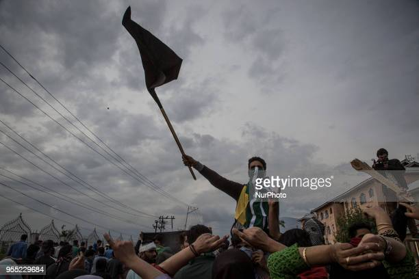 Kashmiri Muslim protesters raise antiIndia slogans during the funeral procession of a civilian Adil Ahmed Saturday May 5 in Srinagar Indiancontrolled...
