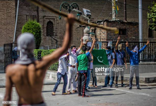 Kashmiri Muslim protesters shout anit Indian slogans during an anti India protest on August 11 2017 in Srinagar the summer capital of Indian...