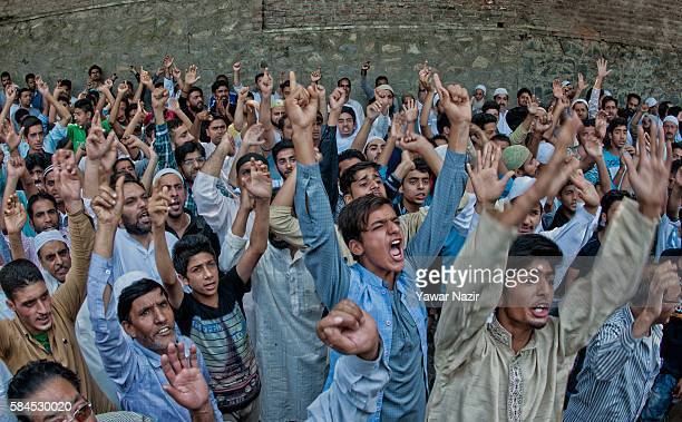 Kashmiri Muslim protesters shout anti Indian and Pro Kashmir Independence slogans, during a protest outside the United Nations Military Observer's...