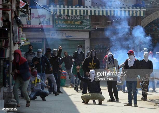 Kashmiri Muslim protesters shout slogans as they clash with Indian police in old Srinagar the summer capital of Indian controlled Kashmir Protests...