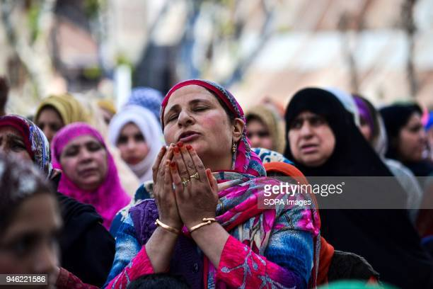 Kashmiri Muslim woman prays on the occasion of the Islamic festival ShabeMeraj at Hazratbal Shrine in Srinagar Indian administered Kashmir ShabeMeraj...