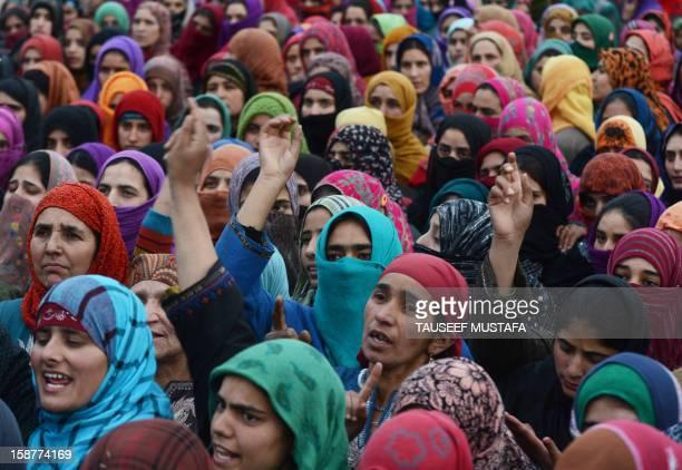 Kashmiri muslim woman shout pro freedom slogans during the funeral of LashkareToiba militant Imtiyaz Ahmed in Pulwama some 55kms south of Srinagar on...