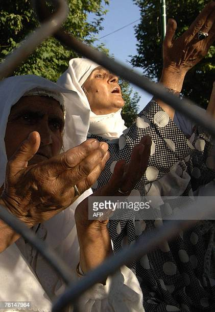 Kashmiri Muslim women offer prayers on the Friday following 'ShabeMeraj' at the famous Hazratbal Shrine in Srinagar 17 August 2007 Devotees thronged...