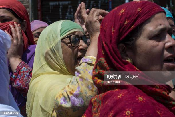 Kashmiri Muslim women protestors shouts pro freedom and antiIndian slogans during a funeral procession of a Kashmiri civilian Kaiser Amin Bhat on...