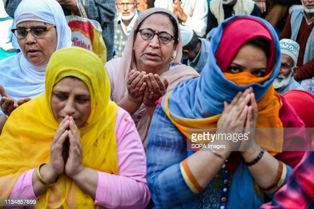 Kashmiri Muslim women seen praying during the occasion ShabeMeraj the night when the Holy Prophet Muhammad ascended to the highest levels of heavens...