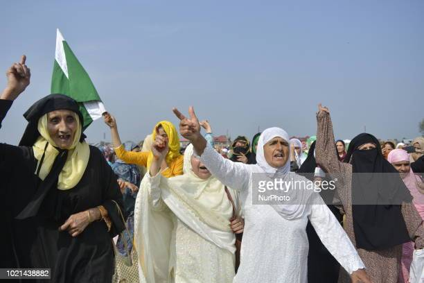 Kashmiri Muslim women shout anti India and pro freedom slogans post EidulAdha festival Prayers in Srinagar the summer capital city of...