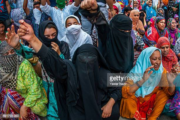 Kashmiri Muslim women shout anti Indian and pro Kashmir freedom slogans during an anti Indian protest following violence that has left over 67 people...