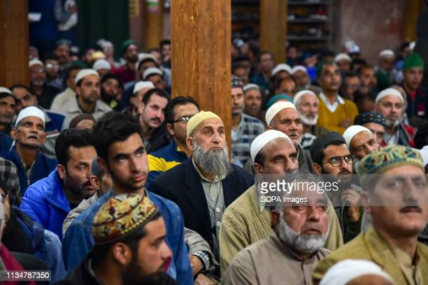 Kashmiri Muslims are seen listening to the sermon of Chief cleric Mirwaiz Umer Farooq during the occasion of Shab-e-Meraj inside a mosque in...
