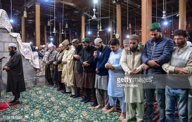 Kashmiri Muslims are seen offering prayers during the occasion of ShabeMeraj inside a mosque in Srinagar LailatulMeraj also known as ShabeMairaj is a...