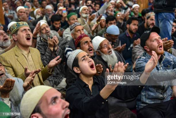 Kashmiri Muslims are seen offering supplications during the occasion of ShabeMeraj inside a mosque in Srinagar LailatulMeraj also known as...