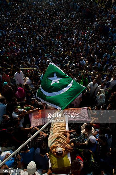 Kashmiri Muslims attend the funeral of Burhan Muzzafar Wani on July 9 2016 in Tral south of Srinagar the summer capital of Indian Administered...