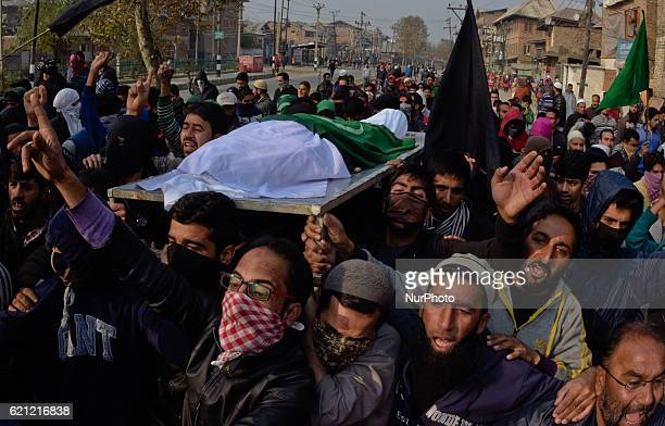 Kashmiri Muslims carry the body of Qaisar Sofi a 16 year old boy who succumbed to his injuries during his funeral on November 05 2016 in Srinagar the...