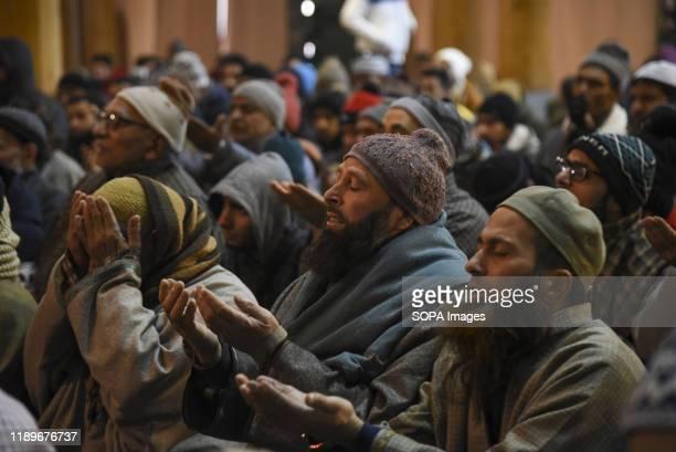 Kashmiri Muslims pray inside Jamia Masjid during Friday prayers in Srinagar. The Jammu and Kashmir administration allowed people to offer Friday...