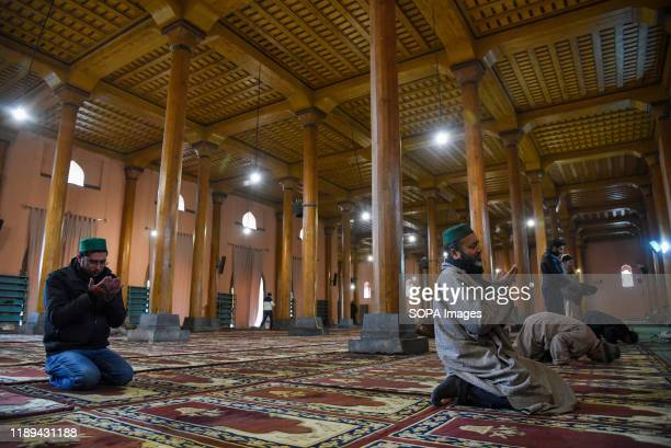 Kashmiri Muslims pray inside Jamia masjid in Srinagar 134 days after the abrogation of Article 370 in Jammu and Kashmir Prayers were performed at...