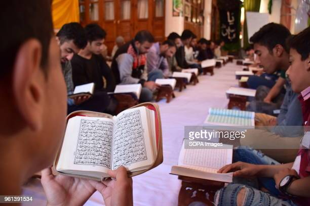 ZADIBAL SRINAGAR JAMMU KASHMIR INDIA Kashmiri Muslims recite AlQuran during the Khatam AlQuran ceremony in a mosque on Monday 5th Ramadan in Srinagar...