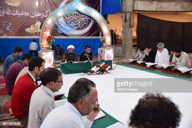 ZADIBAL SRINAGAR JAMMU KASHMIR INDIA Kashmiri Muslims recite AlQuran during the Khatam AlQuran ceremony in a mosque on Monday 5th Ramadan in Srinagar...