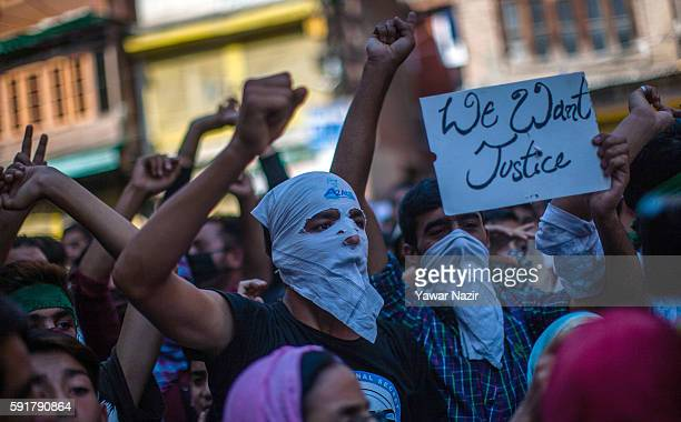Kashmiri Muslims shout anti Indian and pro Kashmir freedom slogans during an anti Indian protest following violence that has left over 67 people dead...