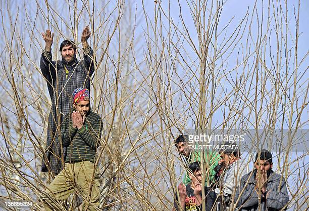 Kashmiri Muslims watch from tree tops as an unseen priest shows a relic believed to be a hair from the beard of the Prophet Mohammed at the Hazratbal...
