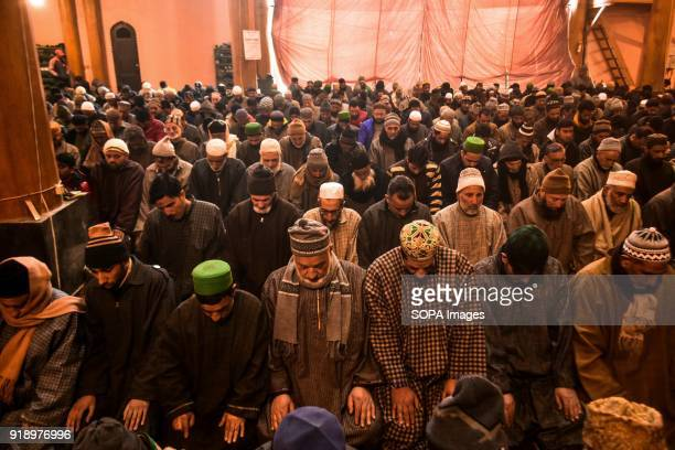 Kashmiri people offer Friday prayers inside the Grand Mosque in Srinagar Indian administered Kashmir The weekly prayers Friday were allowed in the...