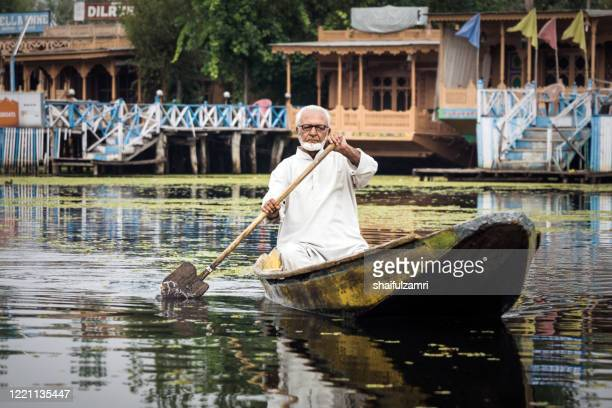 kashmiri people paddle a shikara (traditional wooden boat) at dal lake - shaifulzamri stock pictures, royalty-free photos & images