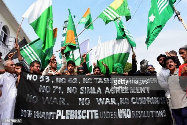 Kashmiri people shout profreedom slogans during protests after friday prayers in Srinagar Indian Adminstered Kashmir on 20 September 2019...