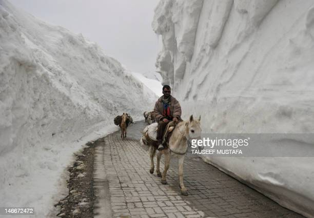 Kashmiri porters on horseback travel past walls of snow along the newlyreopened SrinagarLeh highway in Zojila about 108 km east of Srinagar on April...