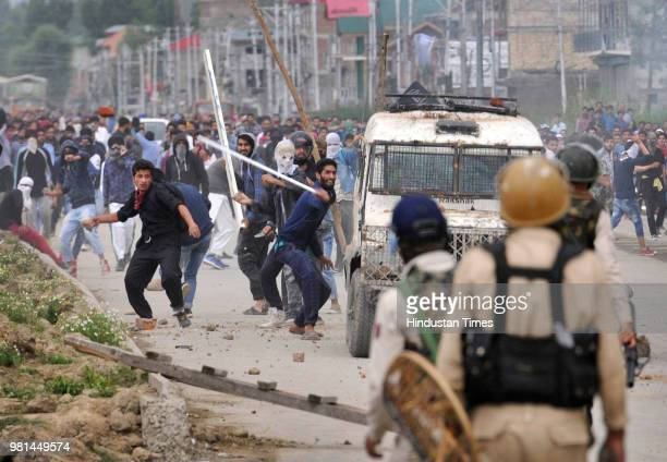 Kashmiri protesters clashed with police after forces killed four militants on June 22 2018 in the outskirts of Srinagar India Indian forces killed...
