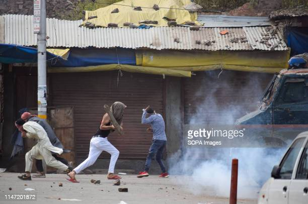 Kashmiri Protesters seen attacking an Indian armoured vehicle during the clashes in Srinagar Government forces in Indian administered Kashmir fired...