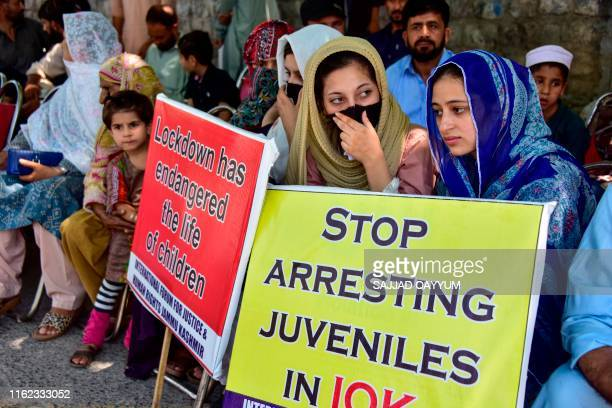 Kashmiri refugees in Pakistan-administered Kashmir take part in an anti-Indian protest rally in Muzaffarabad on August 18, 2019. - Pakistan's Prime...