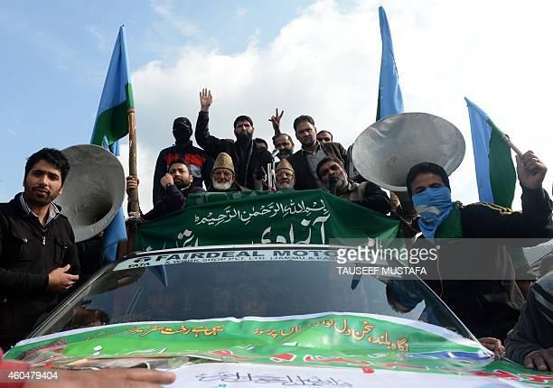 Kashmiri separatist leader Syed Ali Shah Geelani addresses a public rally in the town of Kupwara on November 8 2013 AFP PHOTO/Tauseef MUSTAFA