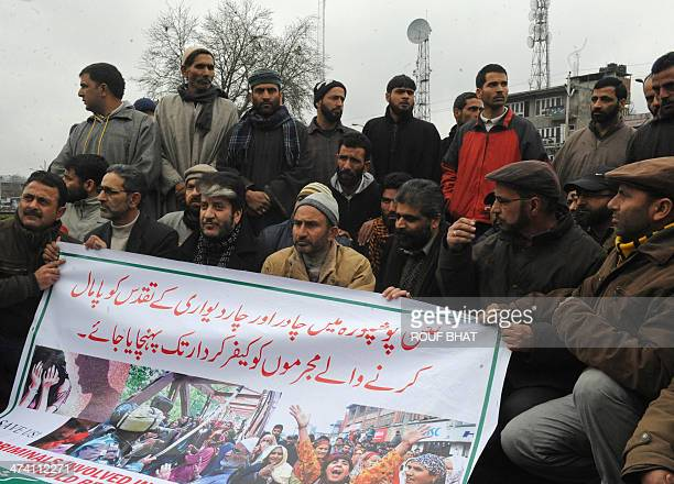 Kashmiri separatist leaders Shabir Ahmad Shah and Nayeem Khan along with their supports stage a sitin protest in Srinagar on February 22 demanding...