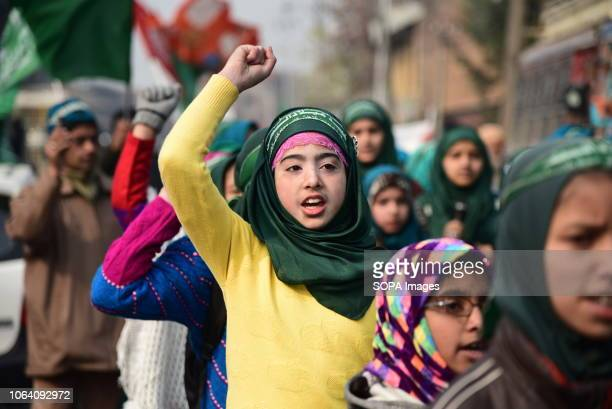 SRINAGAR JAMMU KASHMIR INDIA Kashmiri Shia Muslim student seen shouting Religious slogans during a march rally marking EidiMiladunNabi the birth...