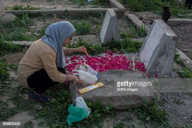 Kashmiri Shiite Muslim girl spreads flower petals on the grave of her relative inside a graveyard to Mark ShabeBarat in Srinagar the summer capital...
