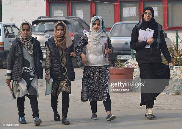Kashmiri students leave the examination center as the board exams have commenced in Srinagar the summer capital of Indian controlled Kashmir on...