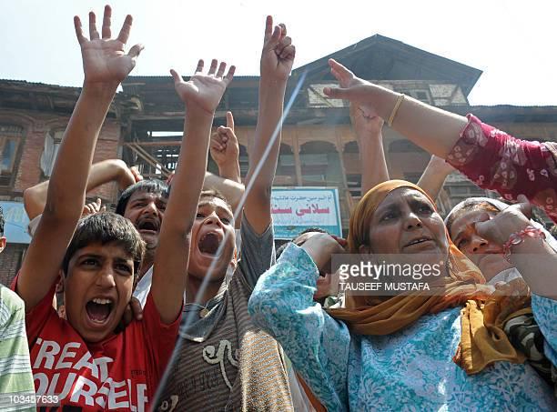 Kashmiri women shout pro-freedom slogans during an anti Indian protest in Srinagar on August 19, 2010.Twenty people were hurt Thursday in fresh...