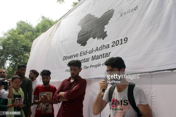 Kashmiri youth speak during a gathering titled as ' Eid away from home' to celebrate Eid alAdha at Jantar Mantar in New Delhi on August 12 2019
