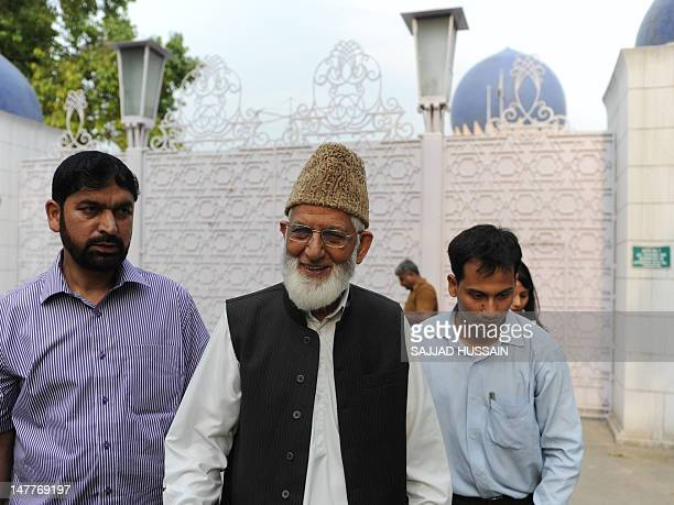 Kashmir's All Parties Hurriyat Conference chairman Syed Ali Shah Geelani leaves the Pakistan High Commission in New Delhi on July 3, 2012. Geelani...