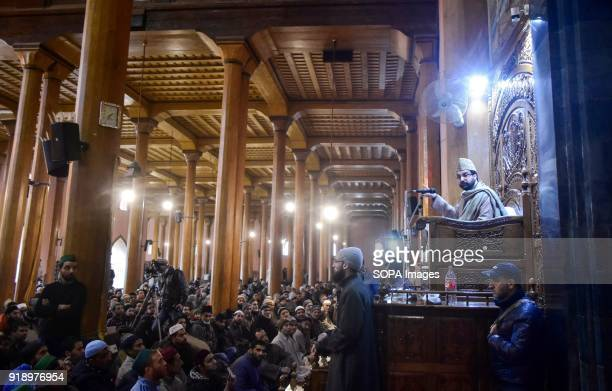 Kashmir's chief priest and chairman of the moderate faction of All Parties Hurriyat Conference Mirwaiz Umar Farooq speaks before a Friday...