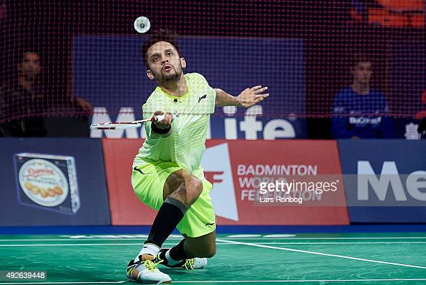 Kashyap of India in action during Day Two at the MetLife BWF World Superseries Premier Yonex Denmark Open Badminton at Odense Idratshal on October 14...