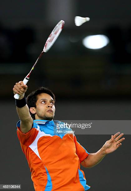 Kashyap Parupalli of India competes in the Men's Singles Gold Medal Match against Derek Wong of Singapore at Emirates Arena during day eleven of the...