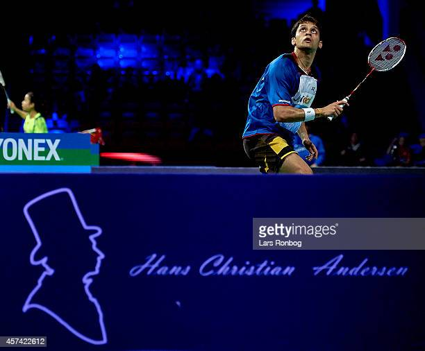 Kashyap Parupalli of India in action in the semifinals during the Yonex Denmark Open MetLife BWF World Superseries at Odense Idratspark on October 18...