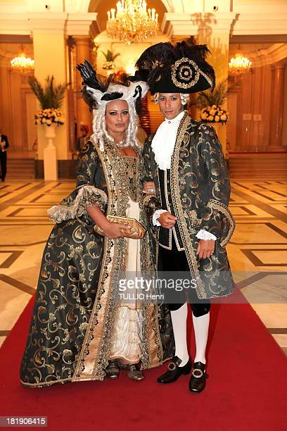 Kasia Al Thani and Stephan d'Angieri pose at Kamel Alzarka 40th Birthday Party at the Hofburg Palace on September 7 2013 in Vienna Austria